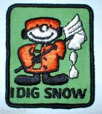 "Vintage Snowmobile Snowboard Ski Patch! ""I Dig Snow"" ! Sled Snow Hiking Winter!"