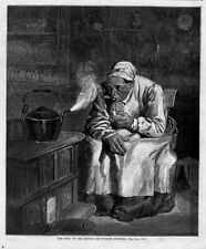 NEGRO WOMAN SMOKING PIPE BY STOVE SONG OF THE KETTLE HARPER'S WEEKLY ENGRAVING
