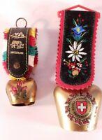 Lot Of 2 Souvenir Miniature Metal Swiss Cowbells; Bern & Zurich