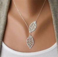 Women Pop Silver Branch Cross Chain Double Leaves Pendant Adjustable Necklace !