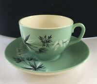 4 Sets Vintage Crown Clarence Demitasse Cups Saucers Teal Aqua Pre 1946 England