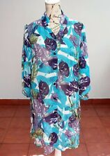 VEDUCCI Summer Blouse, Blue Green Print, Dress Size 14