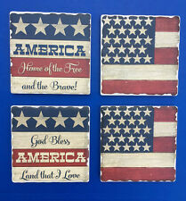 Western Lodge Cabin Decor God Bless America Coasters Set of 4 MADE IN THE USA