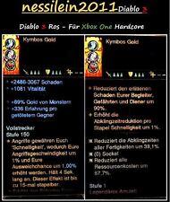 Diablo3 Xbox One - 2x Ringe 1x Amulett - 100% Unsterblich - LvL 1 - Hardcore