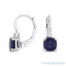 1.65ct Lab Sapphire Diamond 14k White Gold Dangling Drop Leverback Baby Earrings