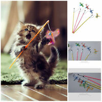 Kitten Play Interactive Fun Toy Cat Teaser Wand Pet Colorful Dragonfly With Bell