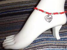 alloy charm ankle bracelet beads stretchy Sweet sixteen 16 heart silver tibet