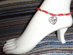 SWEET sixteen 16 heart silver tibet alloy charm ankle bracelet beads stretchy