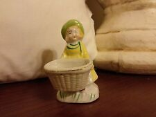 Vintage Miniature Ceramic Lady Figurine With Planter Made In Japan