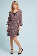 NWT NEW ANTHROPOLOGIE SEQUIN BEADED WRAP DRESS VARUN BAHL PURPLE 4 RETAIL $348