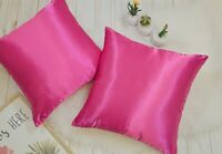 (Set of 2) High Quality Colorful Shiny Satin Pillow COVER, Multi-Color / Size