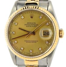 Mens Rolex Datejust 18k Gold and Steel Watch No Holes FACTORY DIAMOND Dial 16233