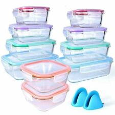 Bo-Toys Glass Food Storage Airtight & Leakproof Containers Set - Snap Lock Lids, 20 Piece