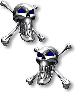 Vinyl sticker/decal Extra small 50mm long smile skull with blue eyes - pair