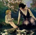 Lady Nude Child Flowers Pond by Bertram Dorien Basabe from 1930s