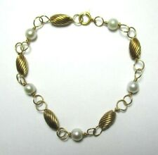 """14K Yellow Gold and Pearl Bracelet 3.3 grams 7 1/8"""" wearable   lot 29z9"""