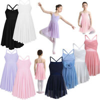 UK Girls Lyrical Ballet Dance Dress Kid Tulle Skirt Gymnastics Dancewear Costume