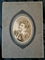 Vintage Old 1902 Cab Cabinet Photo of a Pretty Edwardian Woman Hand on Face Pose