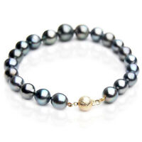 Pacific Pearls® New 9-11mm Tahitian Black Pearl Bracelets Gifts For Best Friends