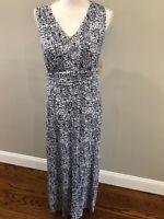 SOMA SIZE S Women's Blue And White Print Sleeveless Super Soft Maxi Dress