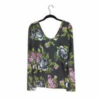 Lululemon Garden Party Top Black 6 Long Sleeve Scoop Floral