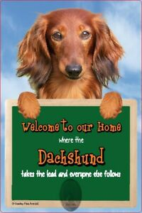 DACHSHUND dog lead holder sign Dachshunds Welcome to our Home sign dog signs