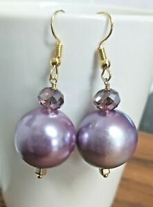 Large Round Purple Faux Pearl & Crystal Gold Tone Drop Earrings - *NEW*