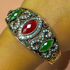 HIGH QUALITY NICE RUBY EMERALD TURKISH VICTORIAN GOLD PLATED BANGLE AV4677
