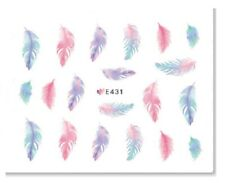 Nail Art Sticker Decals Transfers Multicoloured Feathers (E431)