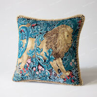"""Jacquard Weave Tapestry Pillow Cushion Cover William Morris - Lion, 18""""x18"""", US"""