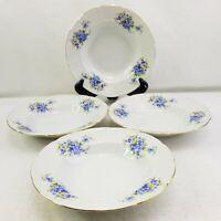 """TK Thun Czech Republic Blue Floral Soup Salad Bowls Set Of 4 Gold Rim 9"""" New"""