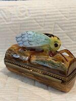 "Limoges Porcelain Collectible Box. Cicada.2.5x1.5x1"" Ltd ed Vintage.Hand Painted"