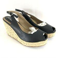 Fitzwell Womens Wedge Heels Slingback Peep Toe Faux Leather Black Size 7