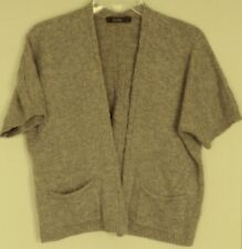 FIELDS Lambswool JACKET pure WOOL soft Knit crop / short CARDIGAN ~ Women sz L