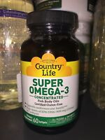 Super Omega-3 Country Life 60 Softgels Gluten-Free, Exp 3/2020 FREE SHIPPING!