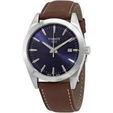 New Tissot Gentleman Blue Dial Leather Strap Men's Watch T127.410.16.041.00