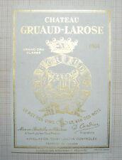 B1491/ ANCIENNE ÉTIQUETTE VIN CHÂTEAU GRUAUD-LAROSE 1904 SAINT-JULIEN MEDOC