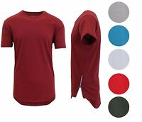 Men's Scalloped Crew Neck Pullover Tee Shirt  with Side Zipper - Cotton