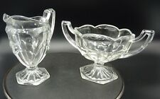 More details for vintage pressed glass cream and sugar - clear