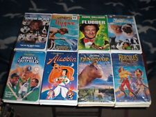 VHS MOVIES MIXED LOT OF 8 -SNOW DOGS-FLIPPER-FLUBBER-ALADDIN-DINOSAUR-MILO/OTIS