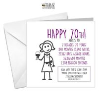 Funny, rude, alternative, sarcastic, BIRTHDAY card. 70th , friend, aunt, cousin