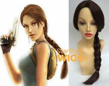 Deluxe Long Brown Plaited Pony Tail Lara Croft Tomb Raider Costume Wig