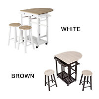 3 PC Wood Dining Set Drop Leaf Table W/Double Stool Kitchen wheel Breakfast