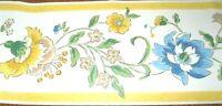 Wallpaper Border Yellow Trim White Blue Tan Large Flower Floral Vine 557241 Wall