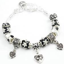 Super Cute Tibetan Silver Heart Bead and enamel Charm BRACELET #CH08
