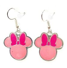 Disney Minnie Mouse Head Pink Silver Character Dangle Hook Earrings GIFT