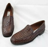 Saks Fifth Avenue Brown Basket Weave Leather Loafers Shoes Women's Size 7M New