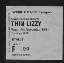 1981 Thin Lizzy Concert Ticket Stub Liverpool Boys Are Back In Town Renegade