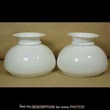 Antique Pair White Milk Glass Student Kerosene Oil Lamp Shades 7in Fitter
