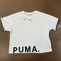 Puma Women's Size Medium White Chase Cotton Short Sleeve Active T-Shirt NWT